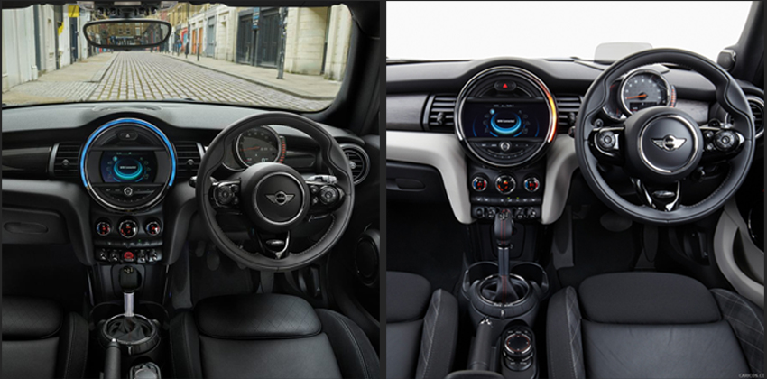 Mini Cooper 3 door vs Mini Cooper 5 door - cabin